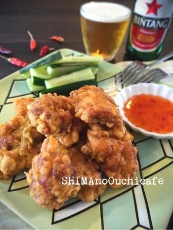 いつものから揚げにナンプラーとレモングラスをプラス。スイートチリソースとよく合うアジアンテイストの唐揚げに変身!