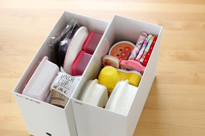 お弁当グッズや使い捨ての容器などをまとめて収納。必要なものが一つのボックスに収められていると、いざという時に慌てずにすみますね。