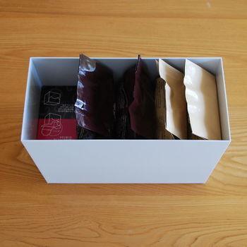 ご覧の通り、コーヒー豆やフィルターもすっぽりと収納◎!他にも紅茶類、製パン・製菓など、用途別に収納しましょう。