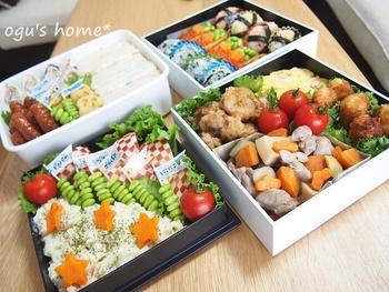 イベントのお弁当は、ふたを開けたときのインパクトも大切ですね。とくにカラフルさは重要ポイント。プチトマトやパプリカ、ブロッコリー、かまぼこ、フルーツなど色の鮮やかな食材を多く使うと、とても豪華に見えますね。