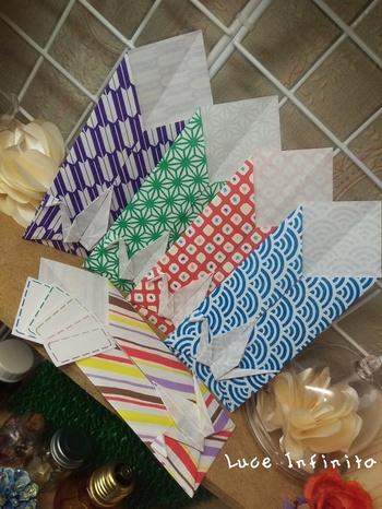 鶴のポチ袋。鶴と千代紙柄の相性は抜群です!