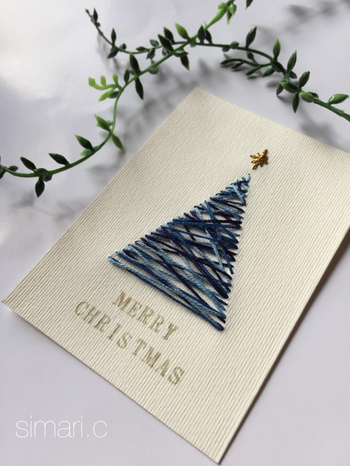 糸を長めに渡して、ツリーを表現。 シンプルなステッチですが、アイディア次第でこんな素敵なクリスマスカードになります。