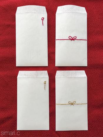 ポチ袋にも、愛情をたくさん込めてみてはいかがですか? 名前を刺繍したり、好きなキャラクターを刺繍したり・・♪アレンジも楽しそう!