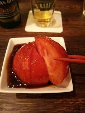 『台湾おつまみトマト』は、タレの甘塩っぱさとトマトの酸味に、生姜が良いアクセントでサッパリ♪