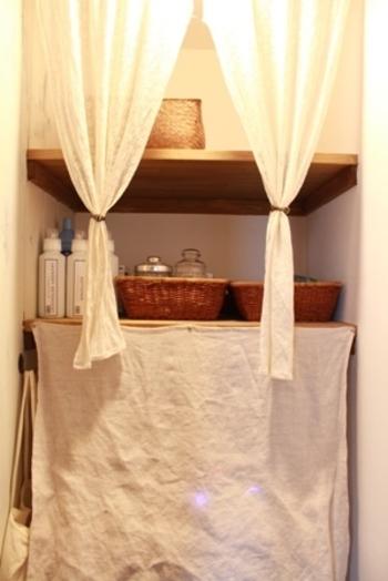 洗剤やタオルなど、生活感が感じやすい水回りにも。
