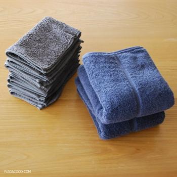 バスタオルやフェイスタオルなど、タオルもぜひカラーを揃えたいところ。リーズナブルだけどさわり心地の良さで人気のアイテムです。
