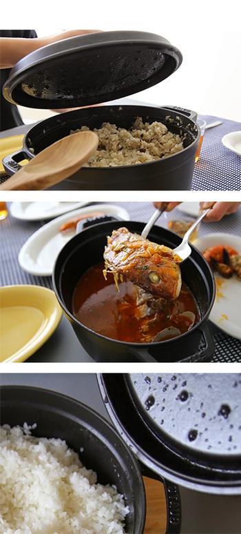ストウブ鍋の大きな特徴は、フタの裏に付いた「ピコ」「システラ」と呼ばれる突起。この突起が、食材から出るうまみを含んだ蒸気をとらえて鍋の中に戻しますので、素材の味を逃がすことなく、ふっくら仕上げます。無水調理ができるのもポイント!