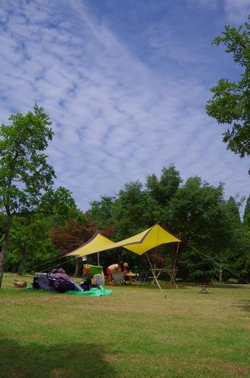 デイキャンプでテントまでは…という時も、強い日差しや突然の雨から守ってくれる『タープ』があると安心です。 タープは、六角形の布をポールで支えて設置します。