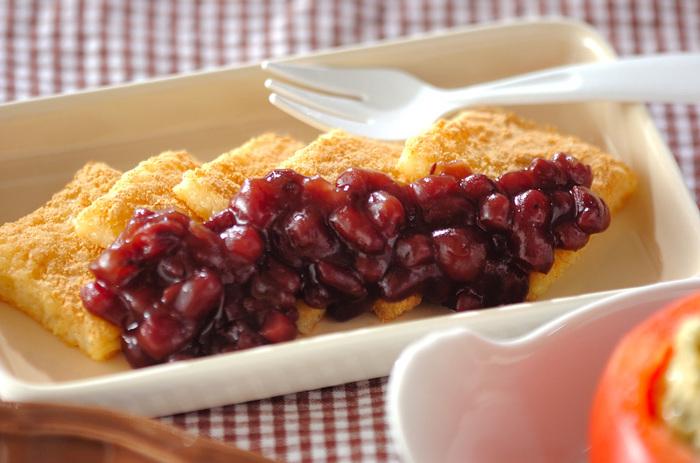 角餅ともちきびを混ぜて電子レンジで加熱してつくる、お手軽和風デザート。もちきびを入れて、食感と栄養価が共にアップします。