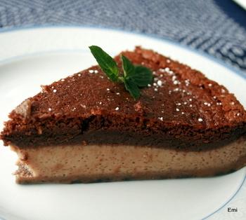 とっても綺麗な層になっているマジックケーキ。チョコレートの濃厚な感じが伝わってきますね。手土産として作って持っていくと喜ばれそうです。