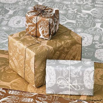 小説「ムーミンパパの思い出」の挿し絵モチーフの包み紙。シルバー、ゴールド、ブラウンの使いやすい3色です。