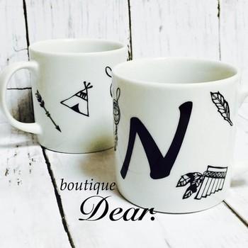 ギフトにぴったりなイニシャルをデザインしたマグカップです。手書き感に風合いがあって新鮮です。