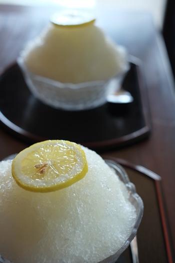 メニューは、手作りのケーキセットやぜんざい等の甘味の他、珈琲や紅茶等。また、生しぼりレモンスカッシュや瀬戸田ライムのスカッシュといった、地元の食材を使った甘味やドリンクもあります。 【画像は、瀬戸田レモンとはちみつを使った天然シロップのかき氷。爽快な味わい。】