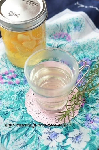 柑橘類や生姜を入れて。ホットで楽しめるフルーツ酢です。