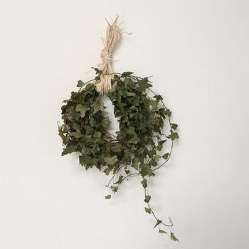 ●アイビー 蔓の先は切らずにそのまま風合いを生かして。根元側に吸水スポンジをつければ鮮やかな緑がさらに長持ちしますよ。