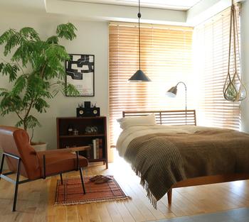 大きめのグリーンをポイントで置くだけでなく、窓際にもハンギングで植物を飾って。