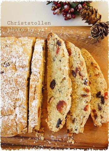 クリスマスの時期なら、クリスマス用のお菓子「シュトーレン」にも使えます。シュトーレンではなく、普通のパンを作る時に練り込んでも美味しいですよ。