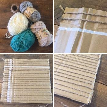 《材料》 ・ダンボール ・ヘアピン ・毛糸・麻紐(お好みのものを数種類)