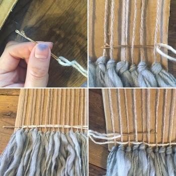 ヘアピンに毛糸を通し、縦糸に平行になるようジグザグに目を詰めるように織り込んでいく。