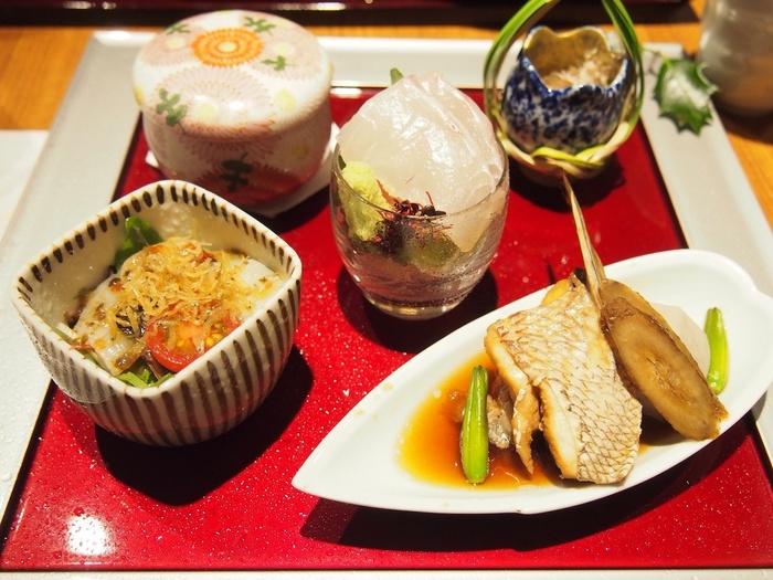 「広島ブランドショップTAU」地下1階の「銀座 遠音近音」。広島産の食材を中心に、瀬戸内の味を楽しめます。【画像はレディースランチの前菜。】