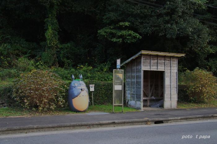 サツキとトトロがバスを待っていたシーンを思い出す、自然豊かな場所。長崎市大瀬戸町にある小さな小さなバス停には、トトロが佇んでいるんです!