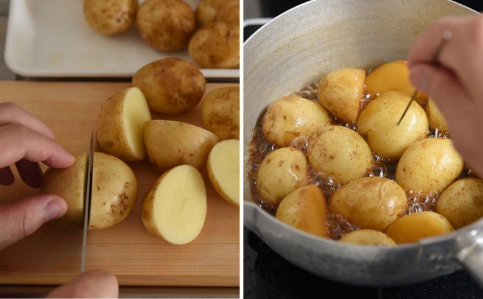 皮むきの手間が要らない新じゃがは、手で汚れを洗い落とし、大きいものは半分に切るなどして大きさを揃えます。水と調味料を合わせた鍋に、重ならないように並べたら、あとは煮汁が煮詰まるまでコトコト炊きます。