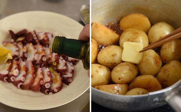 たこのお刺身には、オリーブオイル、おろしにんにく、あらびき黒こしょうでカルパッチョに。 新じゃがの甘辛い煮物には、バター、一味唐辛子、刻みねぎをプラスして。