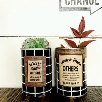 リメイクシートでお手軽なリメイク缶もできちゃいます。文房具入れにしたり、多肉植物を植えてみても◎