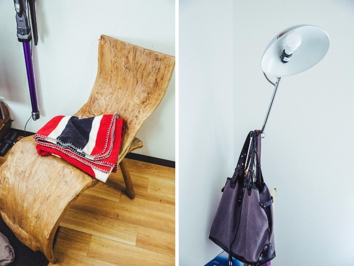 流木で作られた椅子は、知人から譲り受けたもの。お店のインテリアとして使われていたものなのだそう
