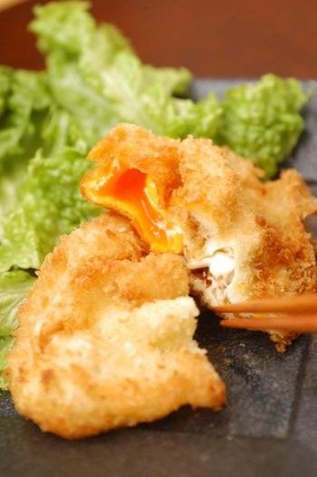 なんと卵とパン粉だけで出来てしまうという驚きの卵フライです。揚げたてを食べたら、やみつきになってしまいますよ。