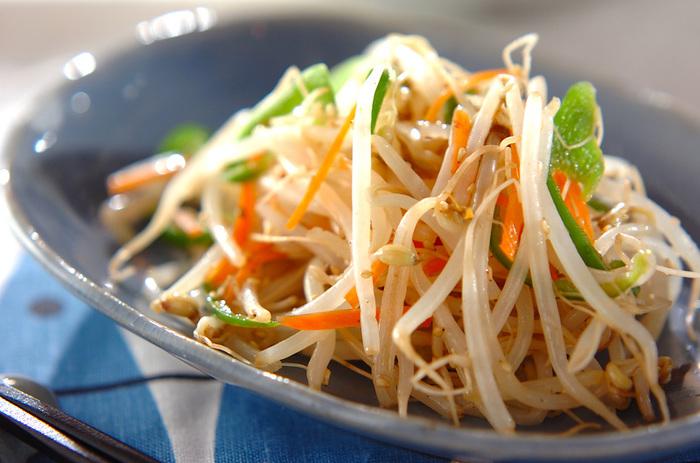 電子レンジを使って、あっという間に作るもやしのナムルです。冷蔵庫に入っているありあわせのお野菜でささっと作れば、節約、時短料理の完成です。