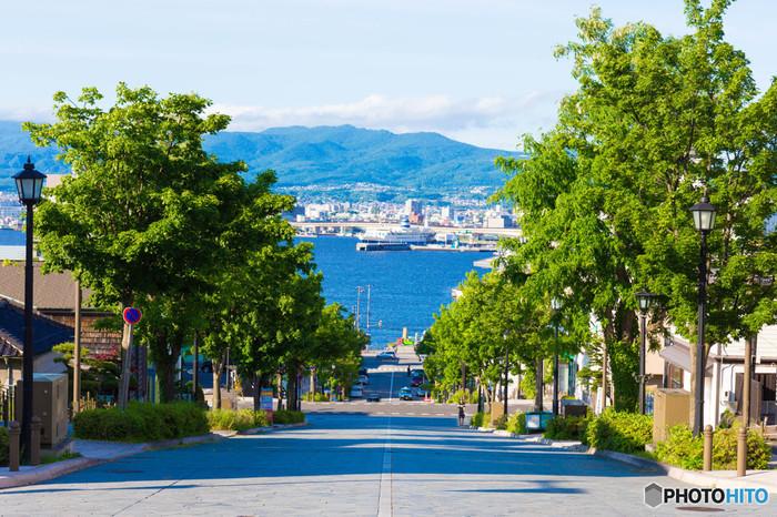 夏に訪れたい北海道の函館。海まで一直線の約270mにわたる素敵な石畳の坂道「八幡坂」は、のぼっては振り返り、海を眺めて.......なんとも気持ちの良い風景が広がっています。