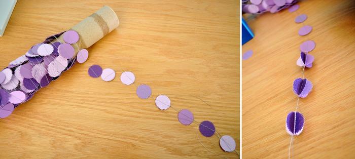 こちらは紙で作ったガーランド。使わないときは厚紙の筒に巻きつけておけば、絡まってしまうこともありませんよね。ナイスアイディアです!