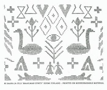 「マーイリマン・スンテュ(世界の始まり)」シリーズ。創造神話と、フィンランドの壁画からインスピレーションを受けた個性的なデザイン。