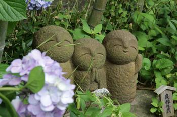 ほほえみのお地蔵さんの横にもアジサイが。海や山など景観も堪能できる長谷寺のアジサイの見頃は、6月上旬から7月上旬まで。その中でも6月中旬頃が一番の見頃と言われています。