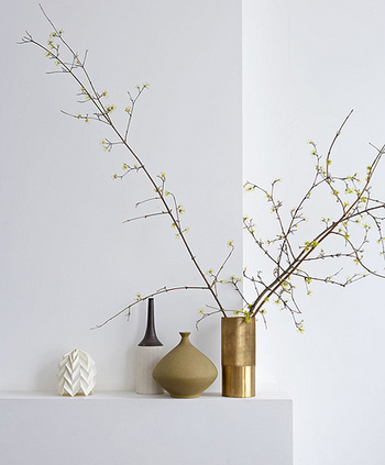 フラワーショップや庭にある木の枝などを気軽に生けてみましょう。空間に奥行きが生まれお部屋が広く見えます。