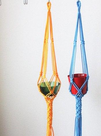 カラフルな紐で編めばポップな印象に。鉢とのカラーコーディネートも楽しみましょう!