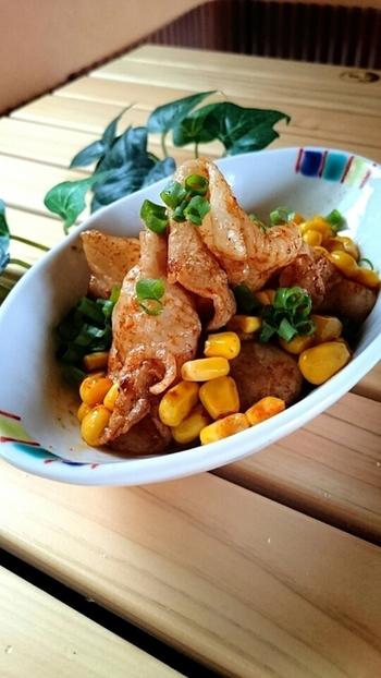豚肉とコーンの組み合わせもチョリソー風ソーセージの素を使えば、いつもと違ったレシピに!手持ちのスパイスではなかなか生み出せないコクとうまみが楽しめます。