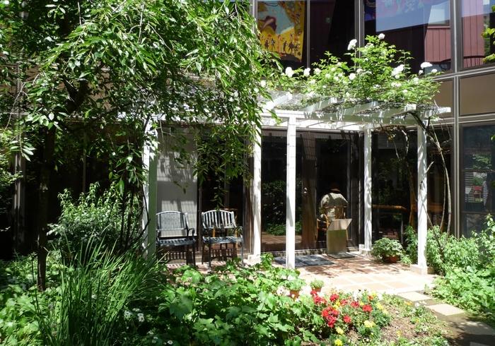 素朴で居心地の良い庭園も。ちひろさんもこちらで子育てをしながら気持ちの良い時間を過ごしたのでしょうか。小さな花や植物を、お子さんと一緒に眺めてみましょう。