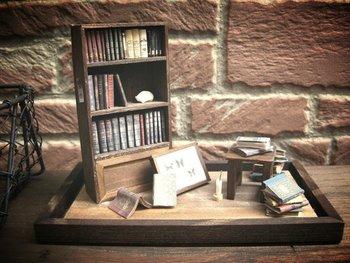 小さな書庫をイメージしたミニチュアです。木製の本棚と、そのまわりには読みかけの本や蝶の標本、ロウソクなどが配置されています。まるでついさきほどまで、誰かがここで過ごしていたかのよう…。