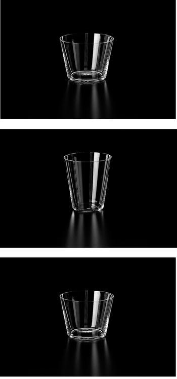 1910年創業、業務用ガラス製品メーカーとして知られる木村硝子店(きむらがらすてん)。文京区湯島の工房で熟練のガラス職人たちが作り上げたによるグラスです。おもてなしにも、贅沢な普段使いにも。画像上から、「aube01 オールド」「aube01 タンブラー」、「aube03 オールド」。