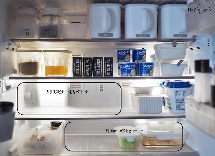 これからの季節は多めに作ったカレー、味噌汁なども冷蔵庫で保管するのがベストです。そんなときにお鍋ごと入るスペースがあればとても助かりますよね。  また、冷蔵庫内に食品などを詰め込み過ぎると冷気がうまく循環せず、電気代が余計にかかってしまうことも。余白を作っておくことは電気代の節約にもつながるんですね。