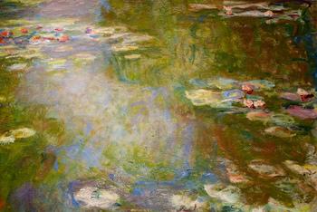 湖面の揺らぐ動き、その中に睡蓮が浮かび上がる様が生き生きと描かれています。近くに寄って見ると鮮やかな絵の具の混ざり合う様子、今描いたばかりかのような瑞々しい筆運びをじっくりと観察できます。