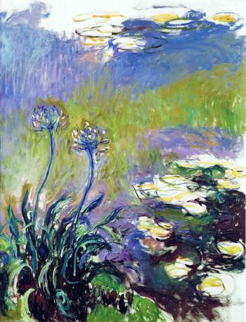 睡蓮の池の前のアガパンサスを描いた作品(1914-1917) 白い部分は白い絵の具ではなく、キャンバスの地が見えています。素描のようなスピード感のある筆致で花の前で筆をとっていたのではないかと想像も膨らみます。