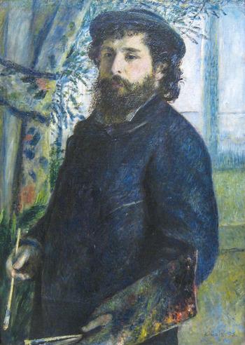 印象派の画家として日本でも度々大規模な企画展が開催されるモネ。『睡蓮』や『積み藁』など、屋外の光をつぶさにとらえ色彩豊かに、現実を再構成した作品たちは今日でも私たちの心を惹きつけてやみません。  こちらの作品はモネの友人でもあるルノワールが描いたモネの肖像画。[絵筆を持つクロード・モネ 1875年 オルセー美術館蔵]