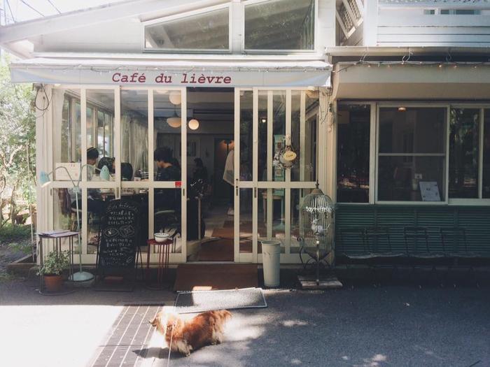 公園内はずれにある、こちらのカフェはほんのりフレンチスタイルがかわいい。「うさぎ館」の名前のとおり、店内にはいろいろな場所にうさぎのモチーフが隠れていますよ。