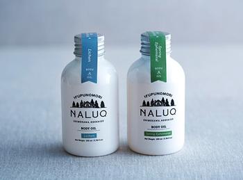 「ジャパンメイド・ビューティ アワード」のコスメティック部門で、優秀賞を受賞したことのある「NALUQ(ナルーク)」のボディオイル。ヒマワリ油や椿油など、こだわりの国産原料で作られたボディオイルは、森を感じる自然の香りで、さらっとした使い心地。伸びがよく、しっとりキメ細やかなお肌へと導いてくれます。