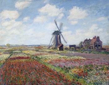 こちらは1886年のオランダ滞在時のものとされているチューリップと風車を描いた作品。こうした旅先での花との出会いもモネにインスピレーションを与えるものだったのでしょうね。