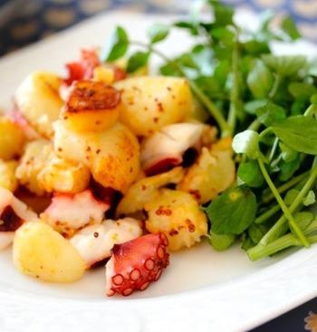カリカリとホクホクの食感が楽しい新じゃがとタコの焼きサラダ。ピリッとした粒マスタードがアクセントに。レモンを絞ったたっぷりのクレソンで後味も爽やか。