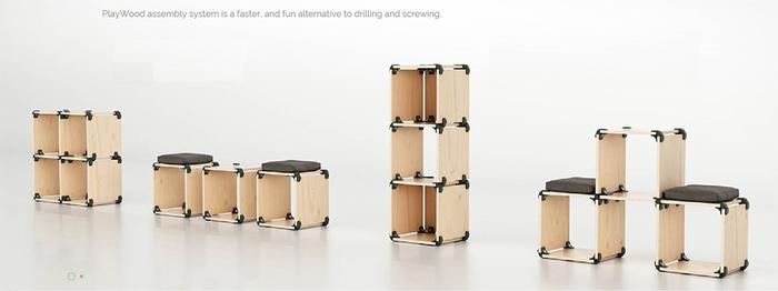 樹脂製のコネクターと板を組み合わせるだけで、テーブルやスツール、シェルフなど、好みのサイズや形のオリジナルの家具が簡単につくれるアイテムです。